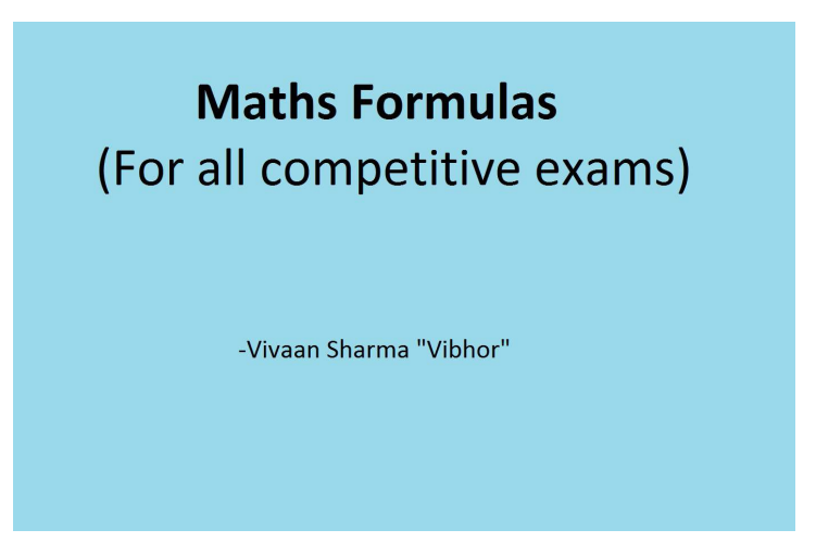 Hand written formula for advanve maths SSC (tier-1) Exams